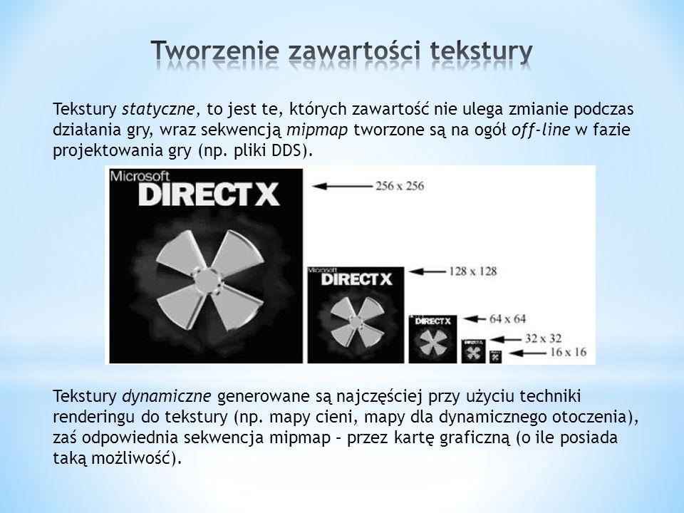 W DirectX interfejsy reprezentujące tekstury usuwa się poprzez wywołanie standardowej metody dla obiektów COM, to jest metody Release interfejsu tekstury.