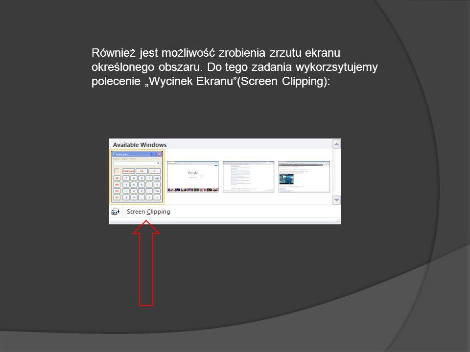 Za pomocą opcji zrzut ekranu można wstawić zrzut ekranu każdego okna, które nie jest zminmalizowane na pasku zadań. Aby uruchomić opcję zrzut ekranu n