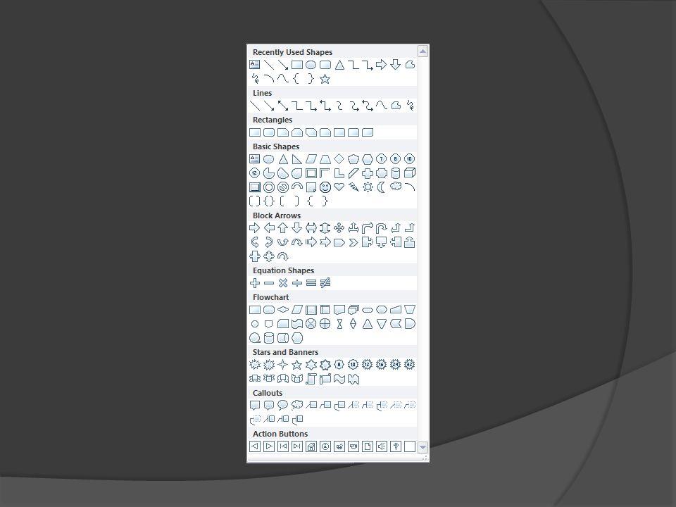 Pod opcją kształty(shapes) w zakładce wstaw(insert) znajdują się rozmaite kształty, które można edytować na rózne sposoby. Przykłady: