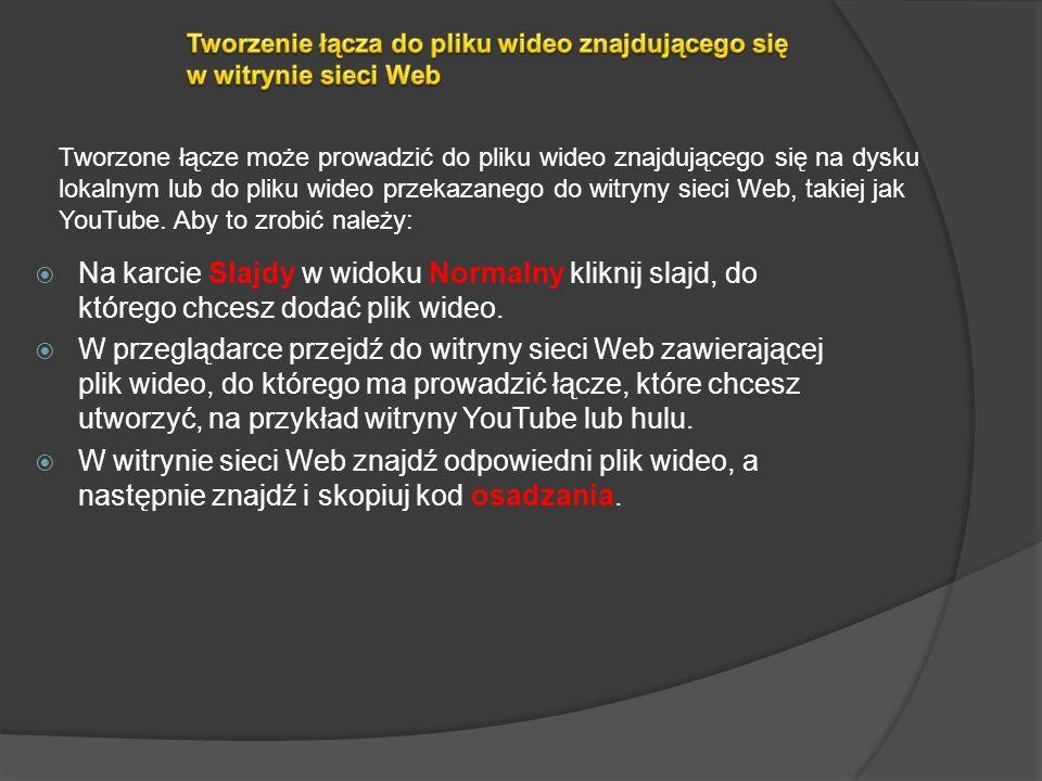 Na karcie Slajdy w widoku Normalny kliknij slajd, do którego chcesz dodać plik wideo lub animowany plik GIF. Na karcie Wstawianie w grupie Multimedia