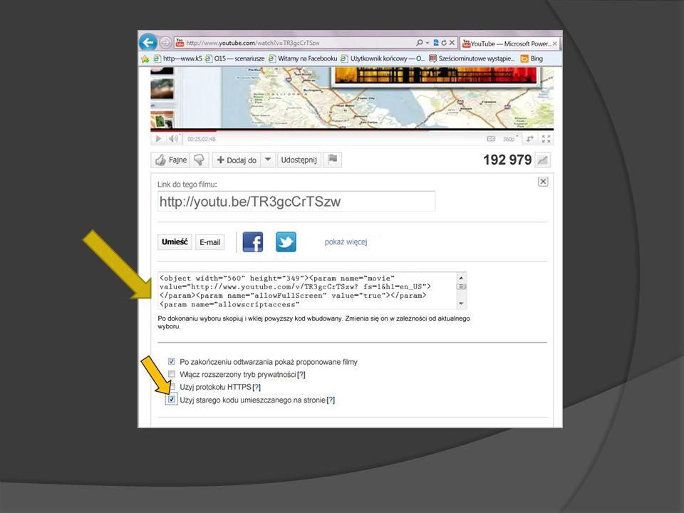 Tworzone łącze może prowadzić do pliku wideo znajdującego się na dysku lokalnym lub do pliku wideo przekazanego do witryny sieci Web, takiej jak YouTu