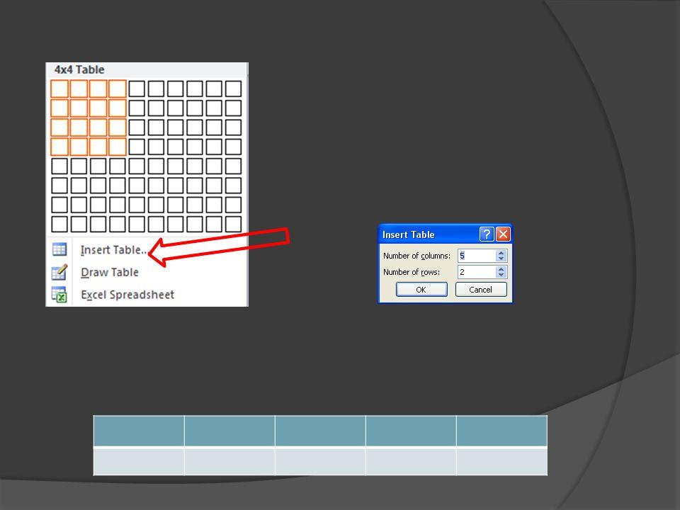 Aby wstawić tabelę do prezentacji należy wybrać zakładkę wstaw(insert) a następnie wybrać opcję tabele. Istnieje kilka możliwości tworzenia tabeli.