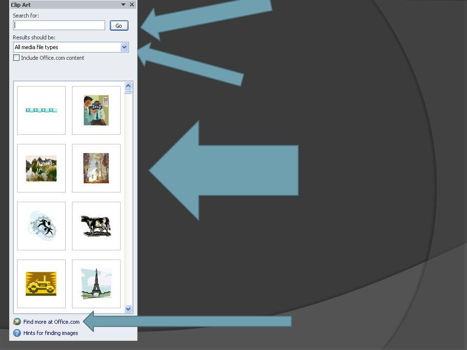 Aby dodać clipart należy wybrać z pasku narzędzi zakładkę wstawianie(insert), następnie wybrać opcję Clip Art.. Po wykonaniu tychże czynności pojawia