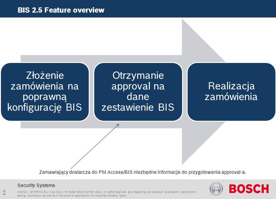 BIS 2.5 Feature overview 3 Internal | ST/PRM2-EU | May 2012 | © Robert Bosch GmbH 2012.