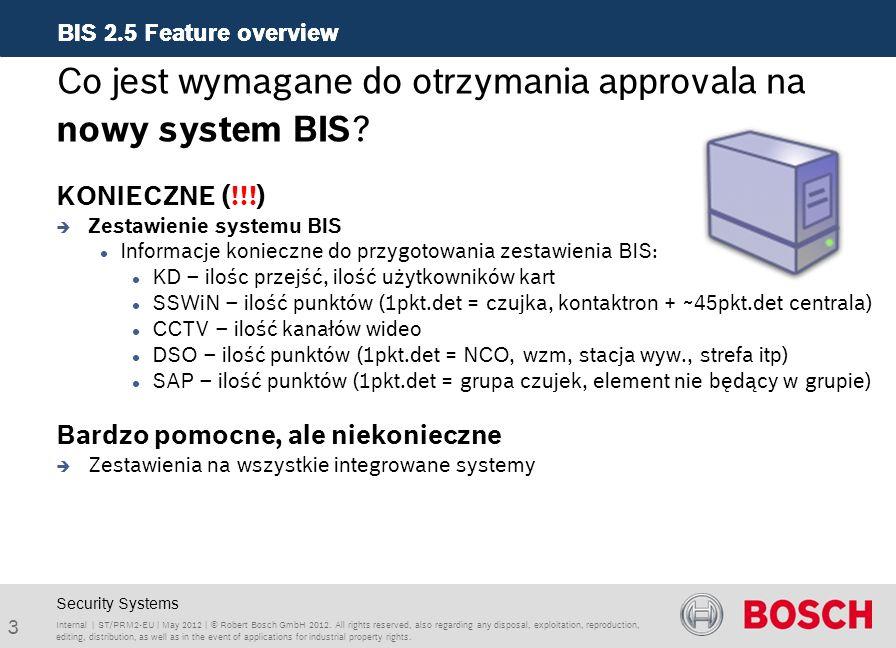 BIS 2.5 Feature overview 14 ST/PRM2-EU | 10-2010 | © Robert Bosch GmbH 2010.
