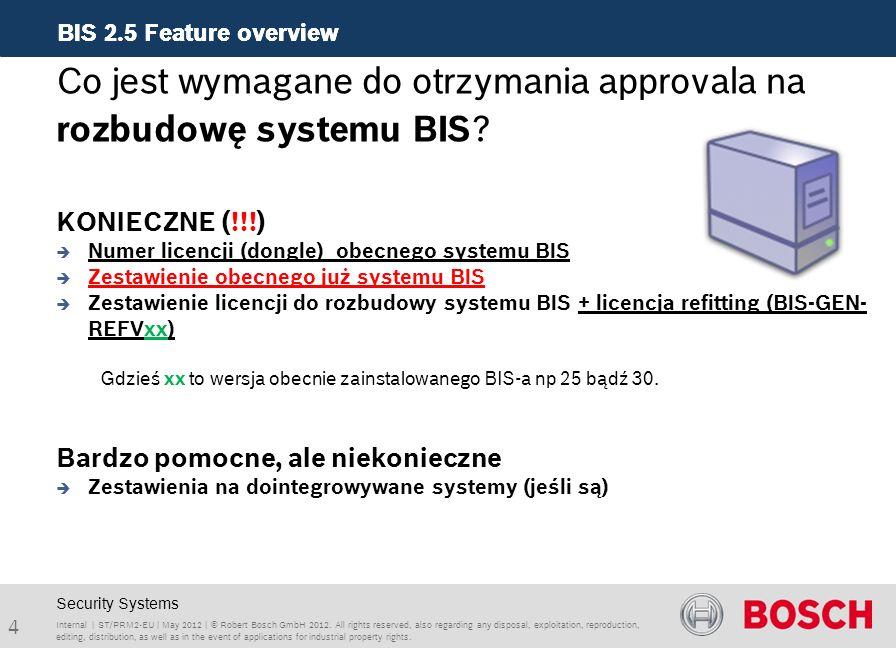 BIS 2.5 Feature overview Internal | ST/PRM2-EU | May 2012 | © Robert Bosch GmbH 2012.