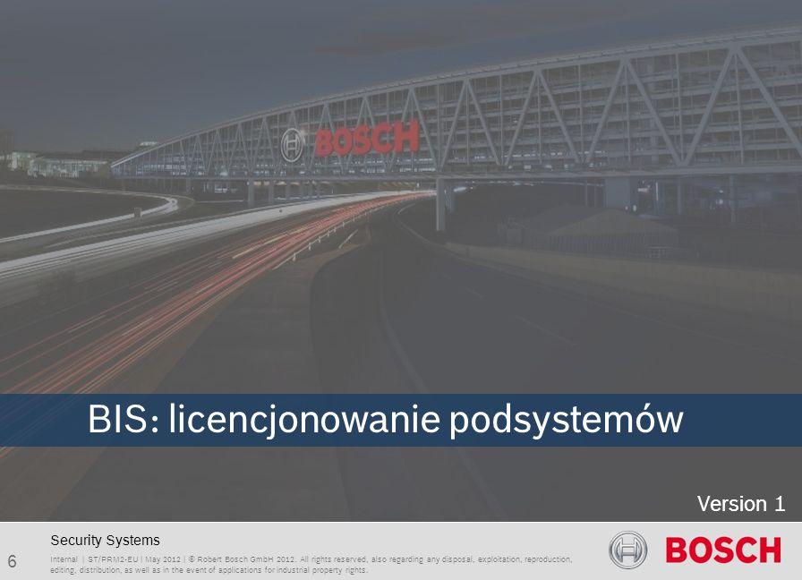 BIS 2.5 Feature overview 7 Internal | Department | May 2012 | © Robert Bosch GmbH 2012.