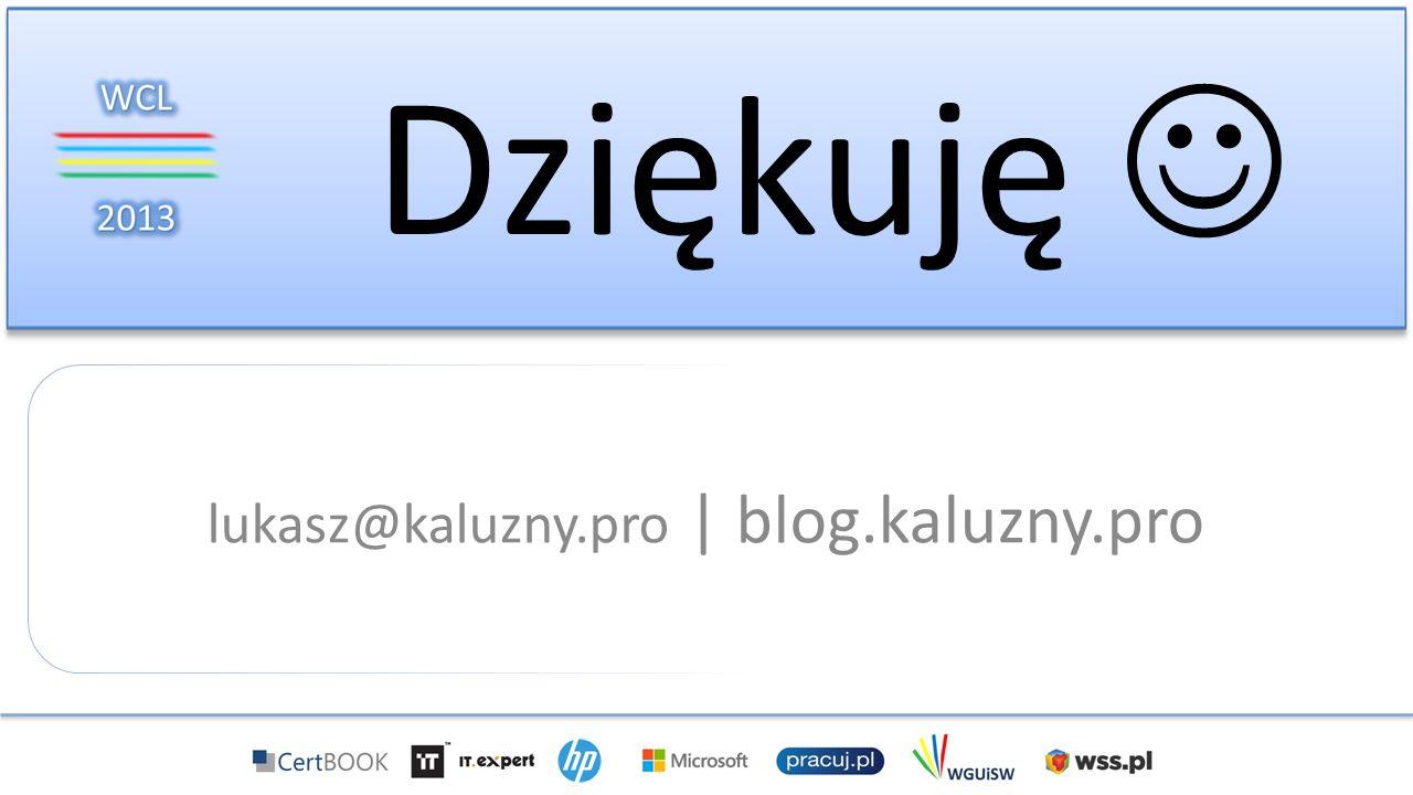 Dziękuję lukasz@kaluzny.pro | blog.kaluzny.pro