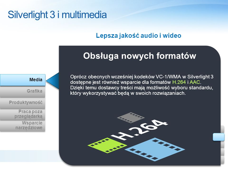 Obsługa nowych formatów Silverlight 3 i multimedia Oprócz obecnych wcześniej kodeków VC-1/WMA w Silverlight 3 dostępne jest również wsparcie dla forma