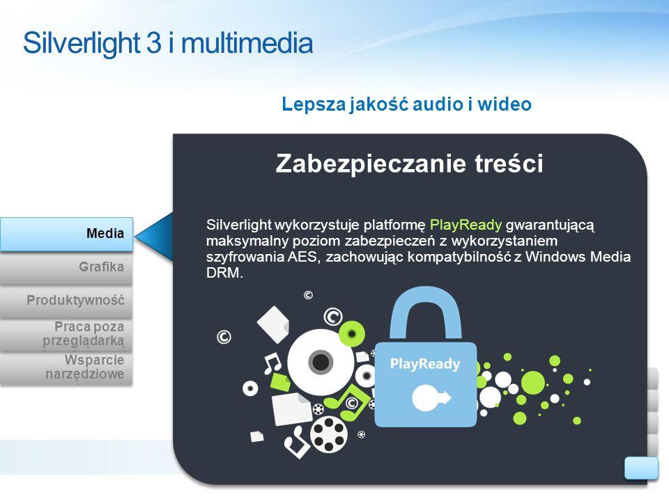 Zabezpieczanie treści Silverlight 3 i multimedia Lepsza jakość audio i wideo Silverlight wykorzystuje platformę PlayReady gwarantującą maksymalny pozi