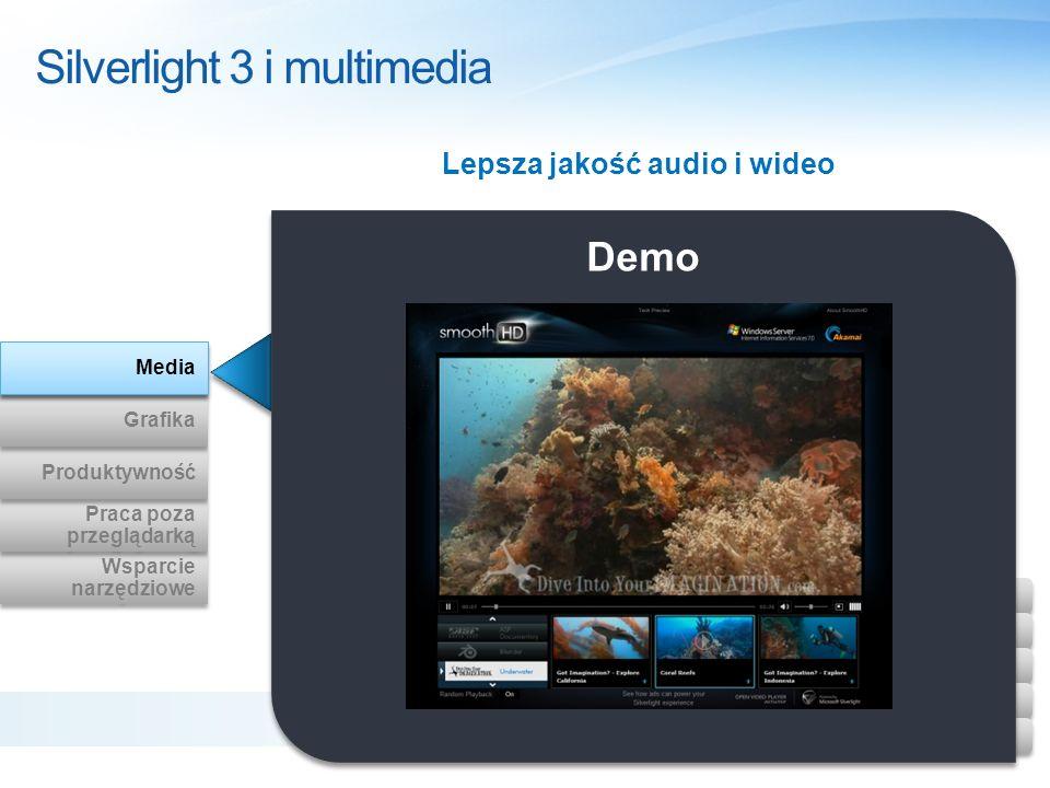 Demo Silverlight 3 i multimedia Lepsza jakość audio i wideo Wsparcie narzędziowe Wsparcie narzędziowe Praca poza przeglądarką Praca poza przeglądarką