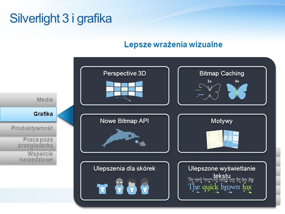 Silverlight 3 i grafika Wsparcie narzędziowe Wsparcie narzędziowe Praca poza przeglądarką Praca poza przeglądarką Produktywność Graphics Media Grafika