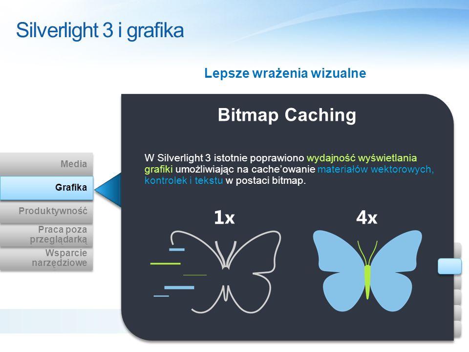 Bitmap Caching W Silverlight 3 istotnie poprawiono wydajność wyświetlania grafiki umożliwiając na cacheowanie materiałów wektorowych, kontrolek i teks
