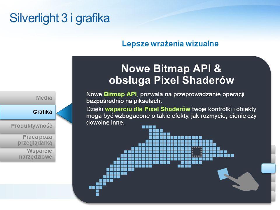 Nowe Bitmap API & obsługa Pixel Shaderów Nowe Bitmap API, pozwala na przeprowadzanie operacji bezpośrednio na pikselach. Dzięki wsparciu dla Pixel Sha