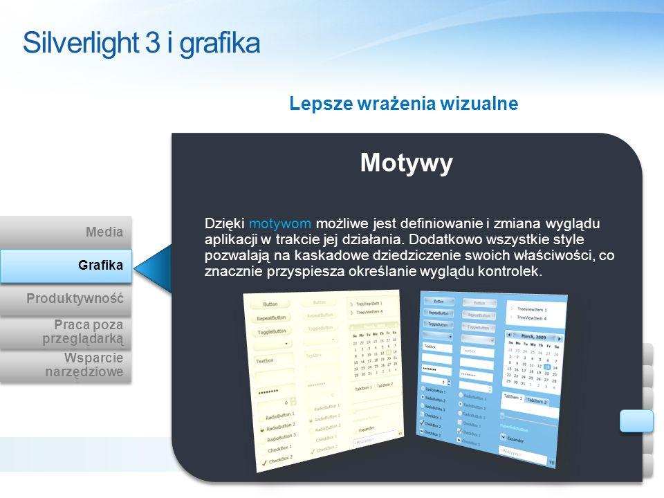 Motywy Dzięki motywom możliwe jest definiowanie i zmiana wyglądu aplikacji w trakcie jej działania. Dodatkowo wszystkie style pozwalają na kaskadowe d