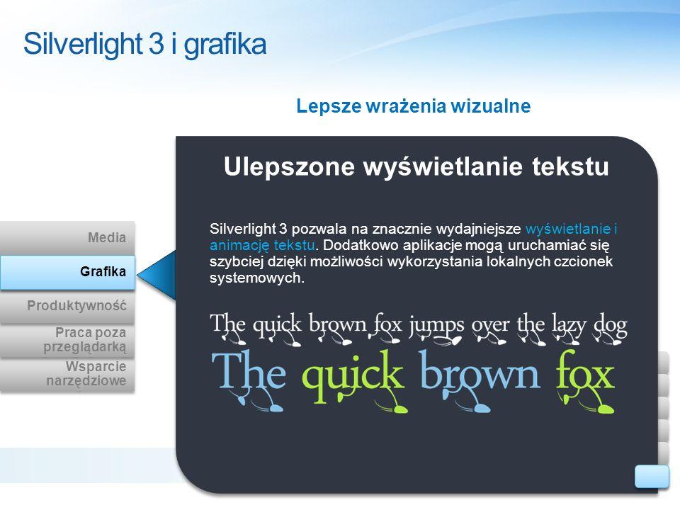 Ulepszone wyświetlanie tekstu Silverlight 3 pozwala na znacznie wydajniejsze wyświetlanie i animację tekstu. Dodatkowo aplikacje mogą uruchamiać się s