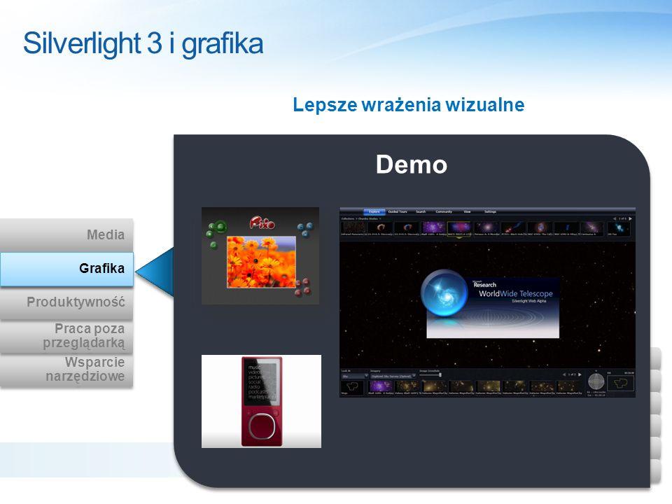 Demo Silverlight 3 i grafika Lepsze wrażenia wizualne Wsparcie narzędziowe Wsparcie narzędziowe Praca poza przeglądarką Praca poza przeglądarką Produk