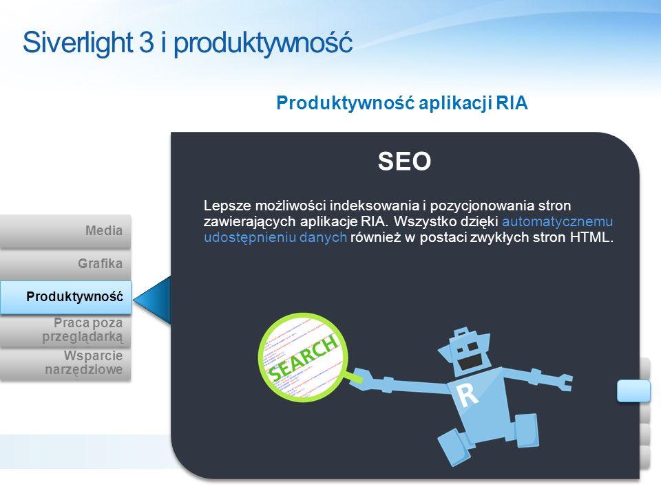 Siverlight 3 i produktywność SEO Lepsze możliwości indeksowania i pozycjonowania stron zawierających aplikacje RIA. Wszystko dzięki automatycznemu udo