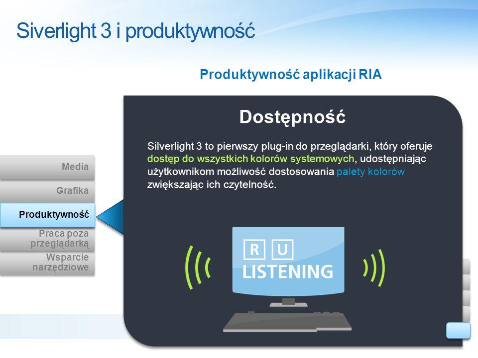 Siverlight 3 i produktywność Dostępność Silverlight 3 to pierwszy plug-in do przeglądarki, który oferuje dostęp do wszystkich kolorów systemowych, udo