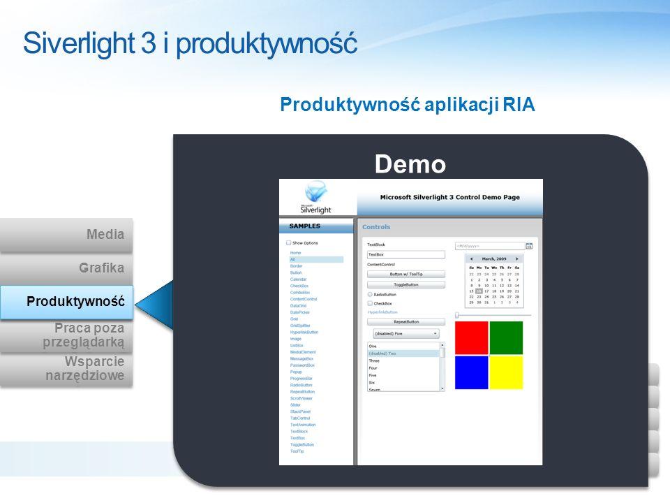 Siverlight 3 i produktywność Demo Produktywność aplikacji RIA Wsparcie narzędziowe Wsparcie narzędziowe Praca poza przeglądarką Praca poza przeglądark