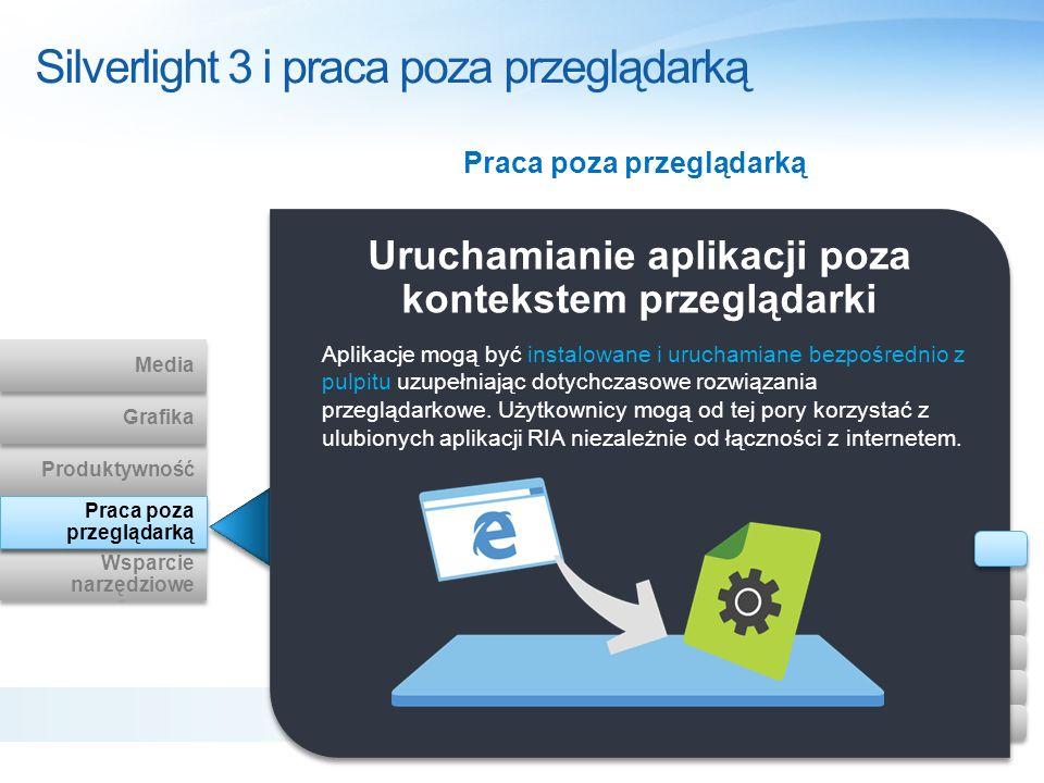 Silverlight 3 i praca poza przeglądarką Uruchamianie aplikacji poza kontekstem przeglądarki Aplikacje mogą być instalowane i uruchamiane bezpośrednio