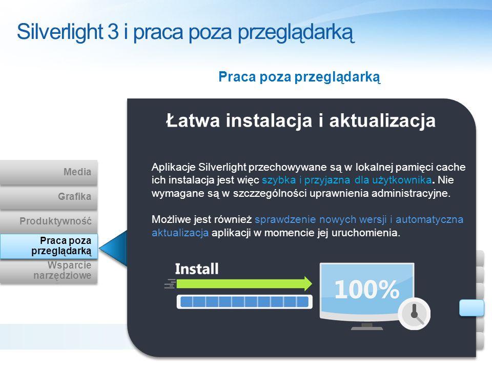 Łatwa instalacja i aktualizacja Aplikacje Silverlight przechowywane są w lokalnej pamięci cache ich instalacja jest więc szybka i przyjazna dla użytko