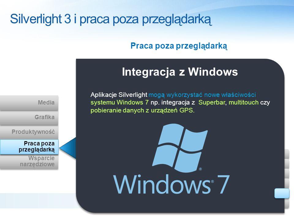 Integracja z Windows Aplikacje Silverlight mogą wykorzystać nowe właściwości systemu Windows 7 np. integracja z Superbar, multitouch czy pobieranie da