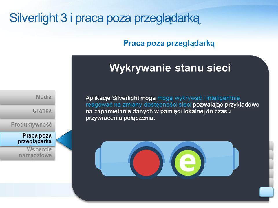 Wykrywanie stanu sieci Aplikacje Silverlight mogą mogą wykrywać i inteligentnie reagować na zmiany dostępności sieci pozwalając przykładowo na zapamię