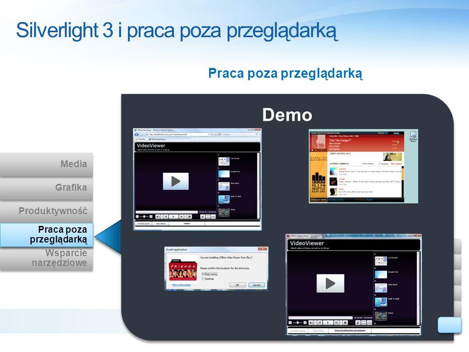 Demo Praca poza przeglądarką Silverlight 3 i praca poza przeglądarką Wsparcie narzędziowe Wsparcie narzędziowe Out of Browser Produktywność Grafika Me