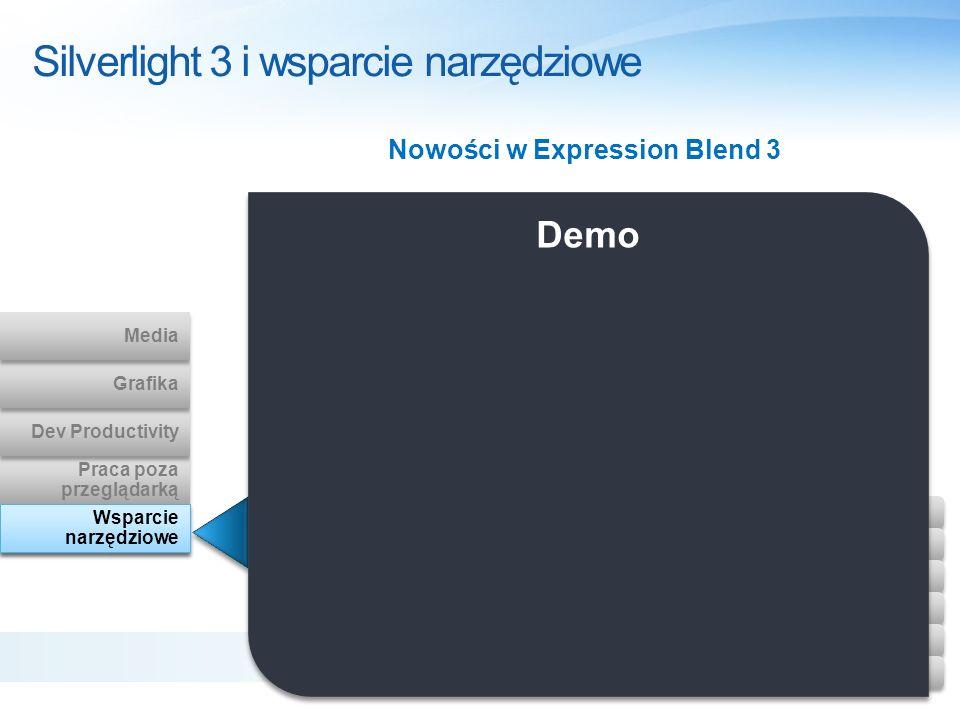 Nowości w Expression Blend 3 Silverlight 3 i wsparcie narzędziowe Design Tooling Praca poza przeglądarką Praca poza przeglądarką Dev Productivity Graf
