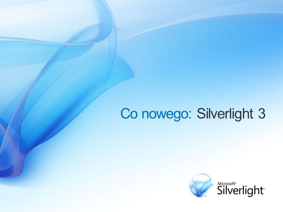 Obsługa lepszej jakości audio i wideo Obsługa lepszej jakości audio i wideo Praca poza przeglądarką Wsparcie narzędziowe Silverlight 3 – nowe cechy Lepsze wrażenia wizualne Produktywność aplikacji RIA