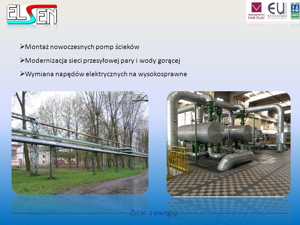 Życie z energią Montaż nowoczesnych pomp ścieków Modernizacja sieci przesyłowej pary i wody gorącej Wymiana napędów elektrycznych na wysokosprawne