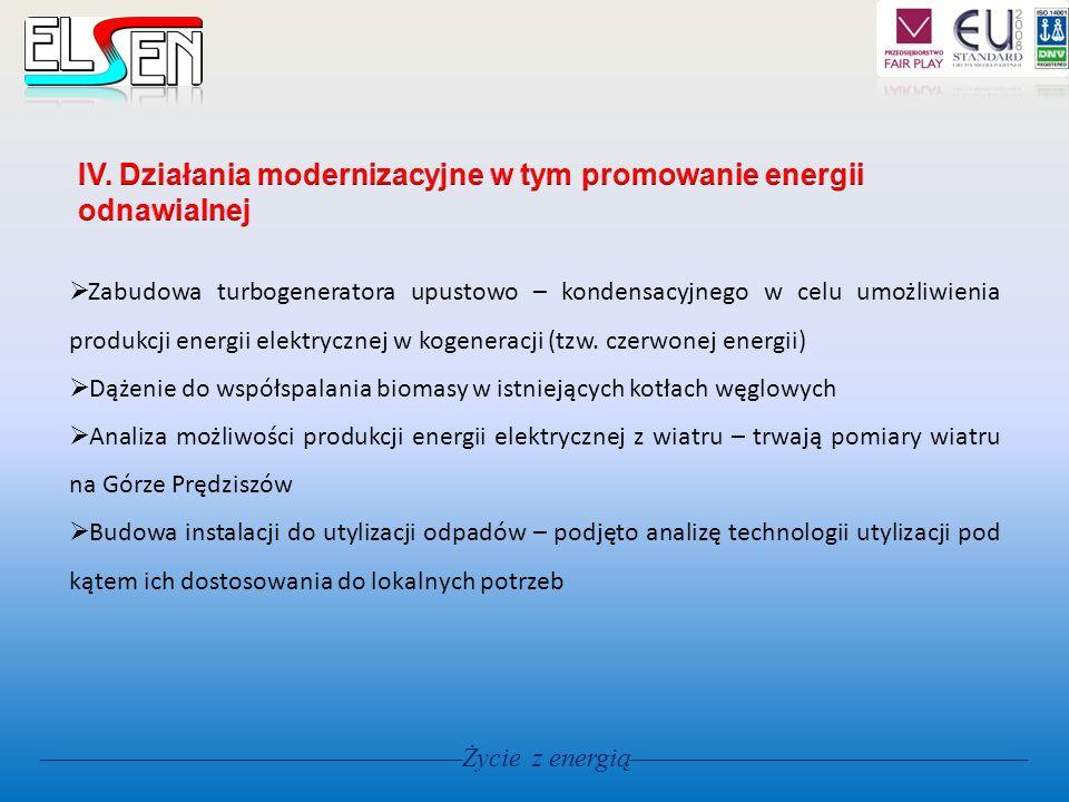 Życie z energią Zabudowa turbogeneratora upustowo – kondensacyjnego w celu umożliwienia produkcji energii elektrycznej w kogeneracji (tzw. czerwonej e