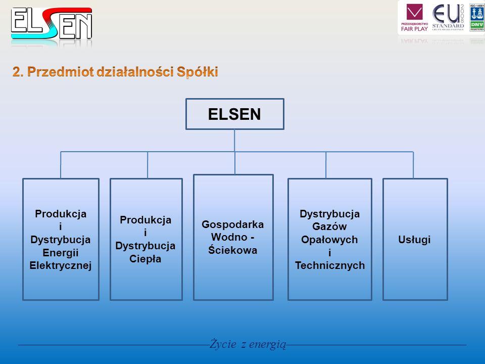 ELSEN Produkcja i Dystrybucja Energii Elektrycznej Produkcja i Dystrybucja Ciepła Gospodarka Wodno - Ściekowa Dystrybucja Gazów Opałowych i Techniczny