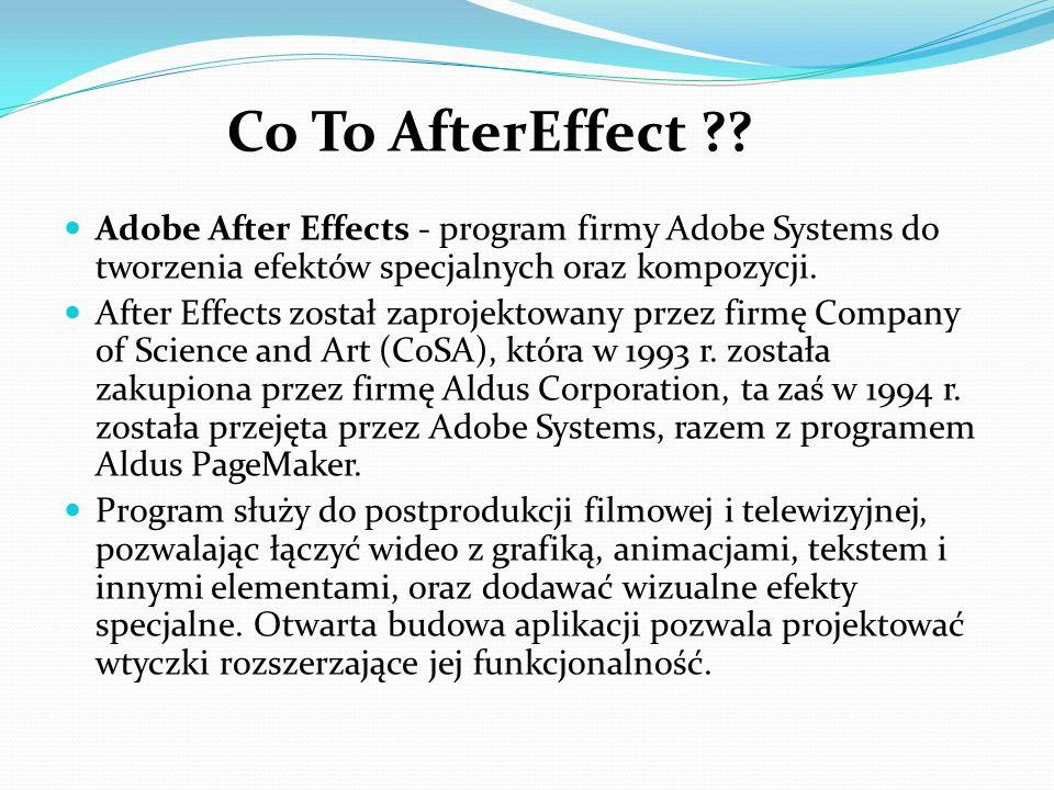 Adobe After Effects - program firmy Adobe Systems do tworzenia efektów specjalnych oraz kompozycji. After Effects został zaprojektowany przez firmę Co