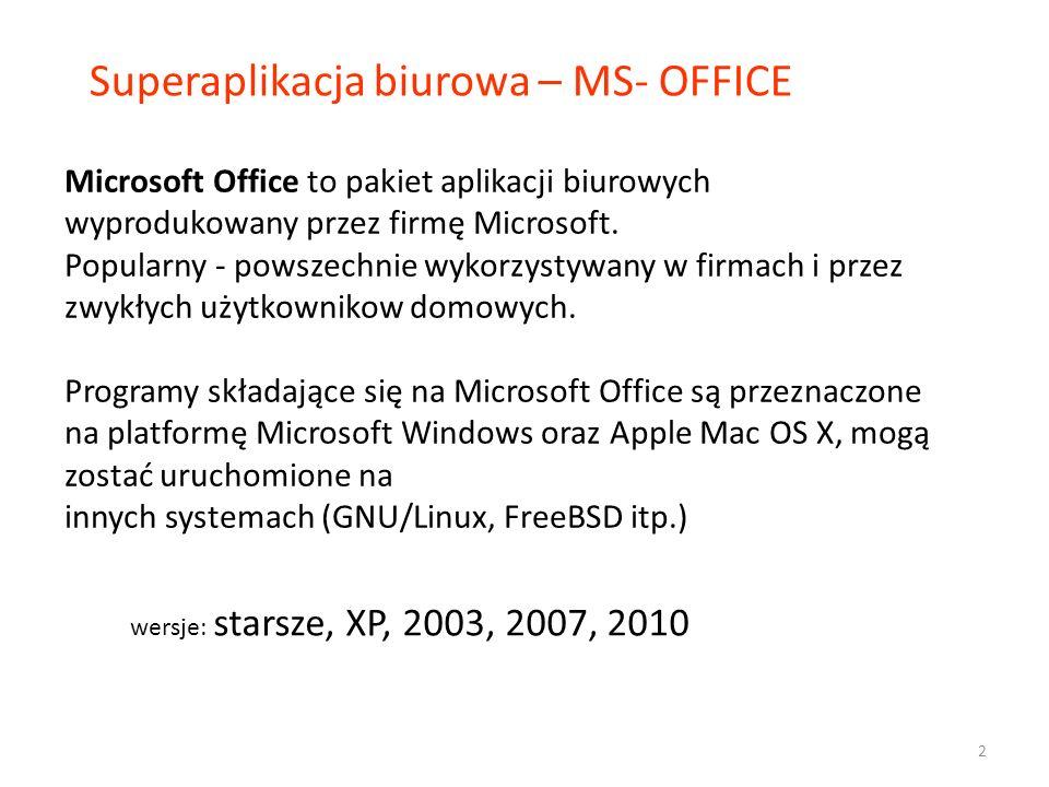 W skład pakietu MS Office Basic wchodzą: Microsoft Word (edytor tekstu) Microsoft Excel (arkusz kalkulacyjny) Microsoft PowerPoint (tworzenie prezentacji multimedialnej) Microsoft Access (tworzenie i obsługa baz danych) Ponadto: Microsoft Office Picture Manager (przeglądarka obrazów, prosta edycja zdjęć) Microsoft Outlook (program pocztowy, kalendarz).