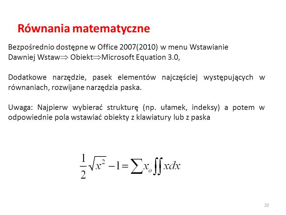 Równania matematyczne Bezpośrednio dostępne w Office 2007(2010) w menu Wstawianie Dawniej Wstaw Obiekt Microsoft Equation 3.0, Dodatkowe narzędzie, pa