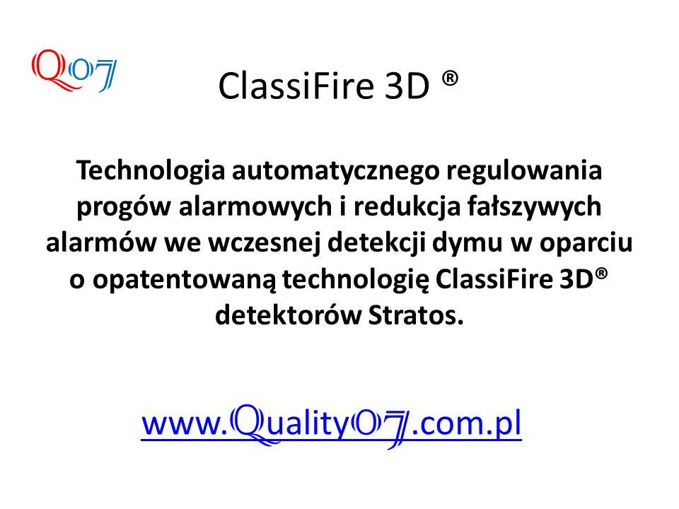 Technologia automatycznego regulowania progów alarmowych i redukcja fałszywych alarmów we wczesnej detekcji dymu w oparciu o opatentowaną technologię ClassiFire 3D® detektorów Stratos.