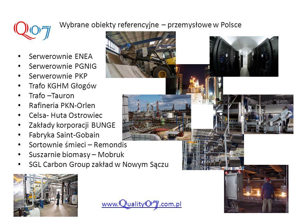 Wybrane obiekty referencyjne – przemysłowe w Polsce Q07 www. Q uality 07.com.pl Serwerownie ENEA Serwerownie PGNIG Serwerownie PKP Trafo KGHM Głogów T