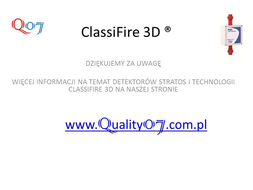 ClassiFire 3D ® DZIĘKUJEMY ZA UWAGĘ WIĘCEJ INFORMACJI NA TEMAT DETEKTORÓW STRATOS I TECHNOLOGII CLASSIFIRE 3D NA NASZEJ STRONIE www. Q uality 07.com.p
