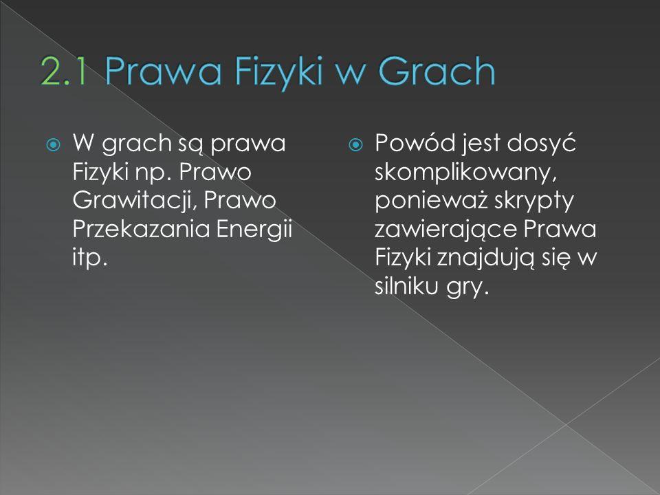 W grach są prawa Fizyki np. Prawo Grawitacji, Prawo Przekazania Energii itp. Powód jest dosyć skomplikowany, ponieważ skrypty zawierające Prawa Fizyki