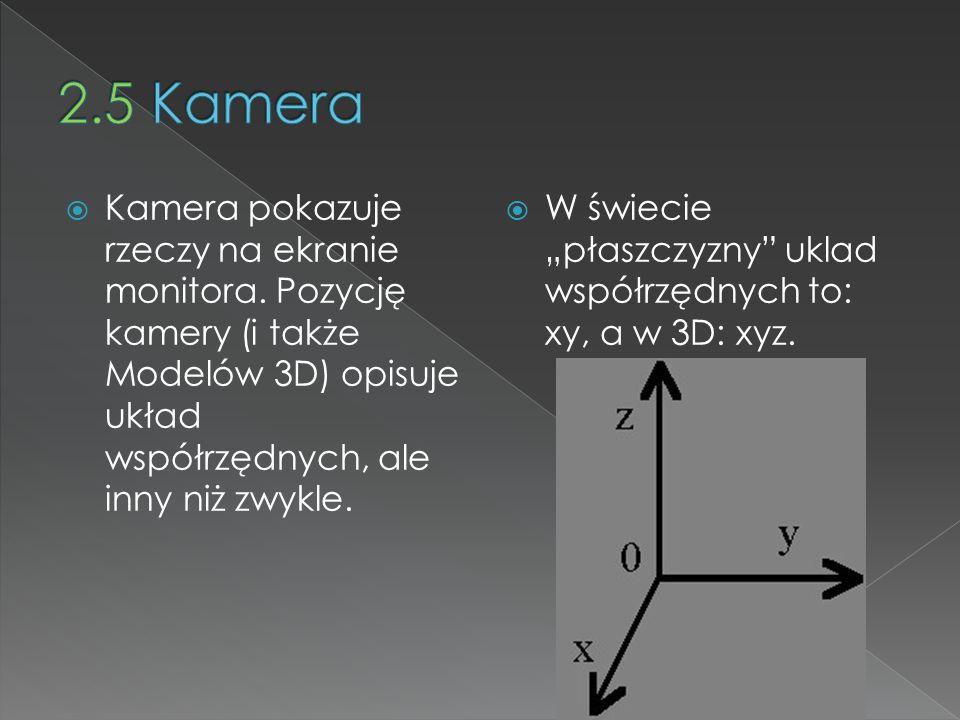 Kamera pokazuje rzeczy na ekranie monitora. Pozycję kamery (i także Modelów 3D) opisuje układ współrzędnych, ale inny niż zwykle. W świecie płaszczyzn
