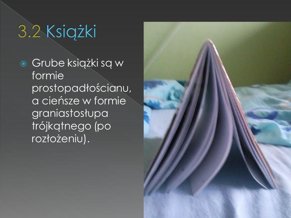 Grube książki są w formie prostopadłościanu, a cieńsze w formie graniastosłupa trójkątnego (po rozłożeniu).