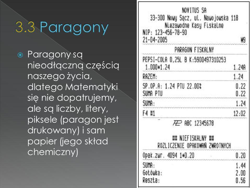 Paragony są nieodłączną częścią naszego życia, dlatego Matematyki się nie dopatrujemy, ale są liczby, litery, piksele (paragon jest drukowany) i sam p