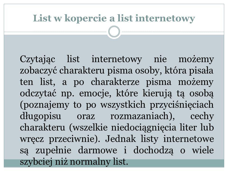 List w kopercie a list internetowy Czytając list internetowy nie możemy zobaczyć charakteru pisma osoby, która pisała ten list, a po charakterze pisma