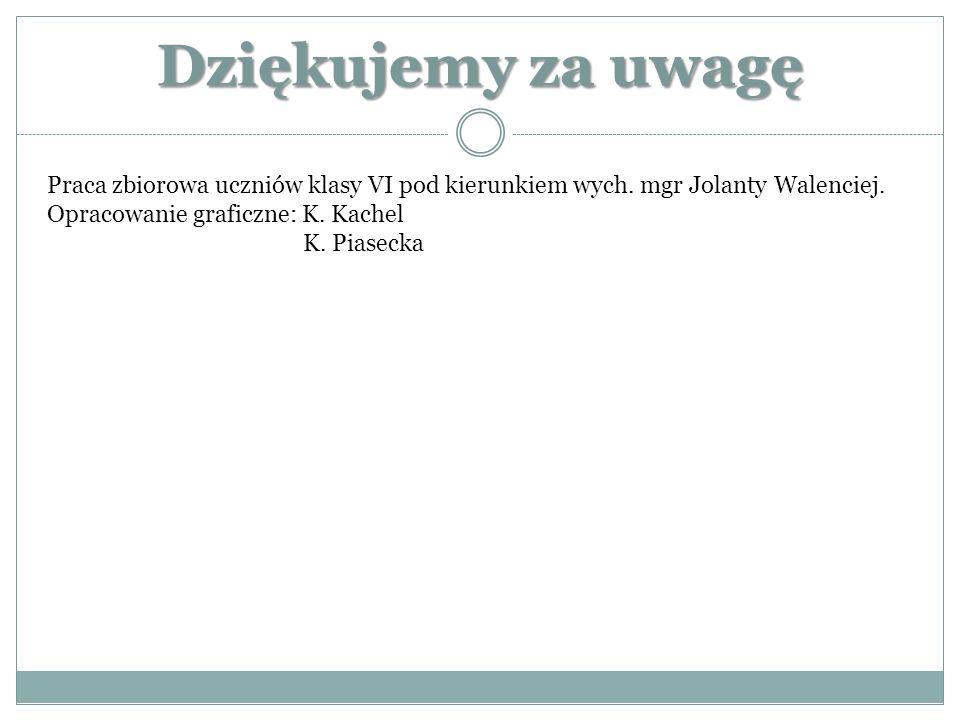 Dziękujemy za uwagę Praca zbiorowa uczniów klasy VI pod kierunkiem wych. mgr Jolanty Walenciej. Opracowanie graficzne: K. Kachel K. Piasecka