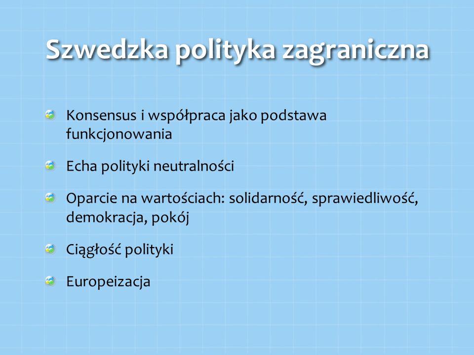 Szwedzka polityka zagraniczna Konsensus i współpraca jako podstawa funkcjonowania Echa polityki neutralności Oparcie na wartościach: solidarność, spra