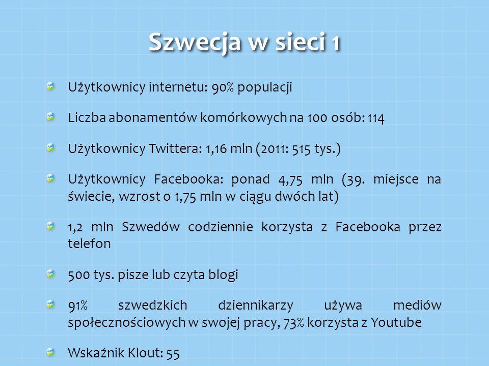 Szwecja w sieci 1 Użytkownicy internetu: 90% populacji Liczba abonamentów komórkowych na 100 osób: 114 Użytkownicy Twittera: 1,16 mln (2011: 515 tys.)