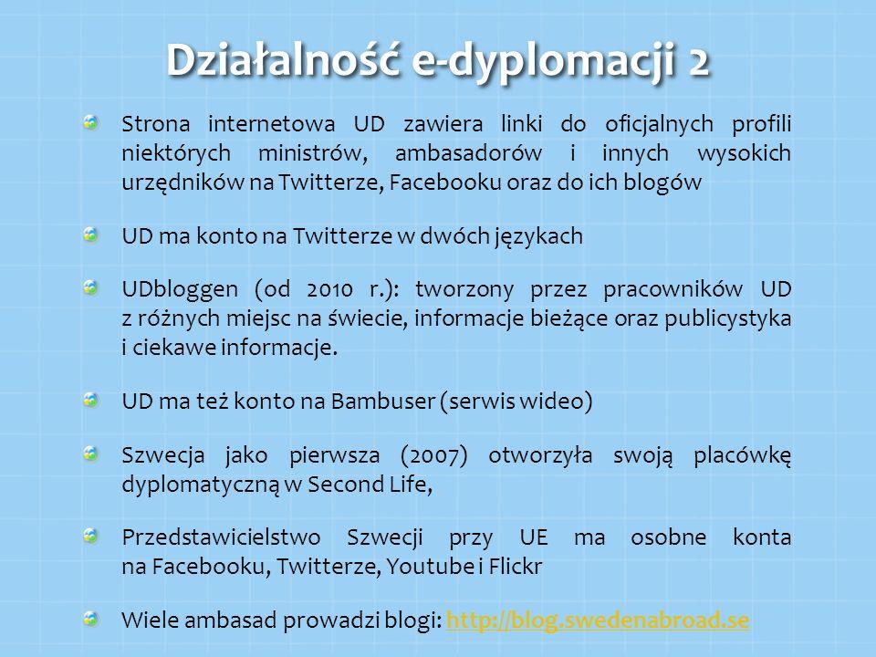 Strona internetowa UD zawiera linki do oficjalnych profili niektórych ministrów, ambasadorów i innych wysokich urzędników na Twitterze, Facebooku oraz