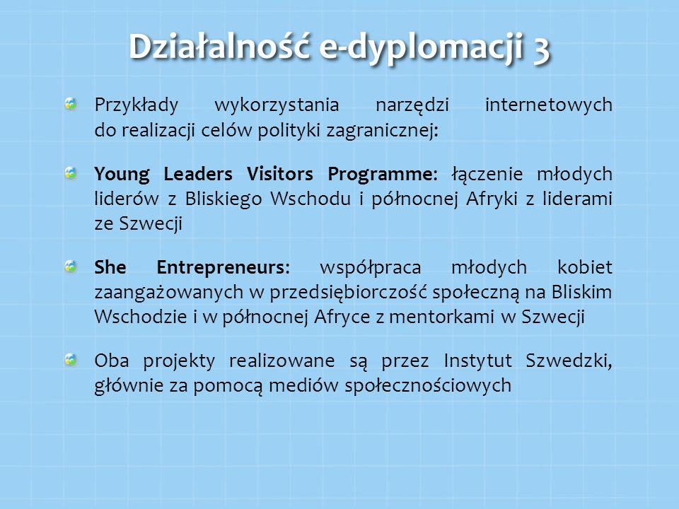 Przykłady wykorzystania narzędzi internetowych do realizacji celów polityki zagranicznej: Young Leaders Visitors Programme: łączenie młodych liderów z